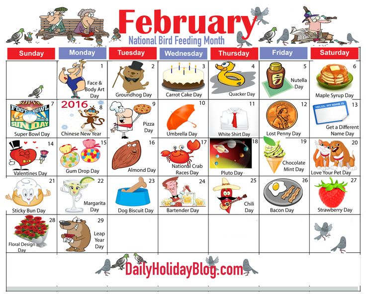 february holiday calendar
