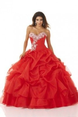 Prom Dresses 2013 New Arrival Red Ball Gown Sweetheart Organza Lace Up Floor Length