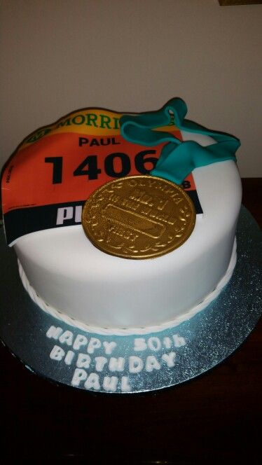 Great North run themed cake- running themed cake