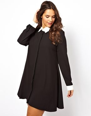 Alice & You Swing Dress With Contrast Collar And Cuff.....   LouLove here: if i might add...this is very Wednesday Adams to me! I LOOOOVE IT!