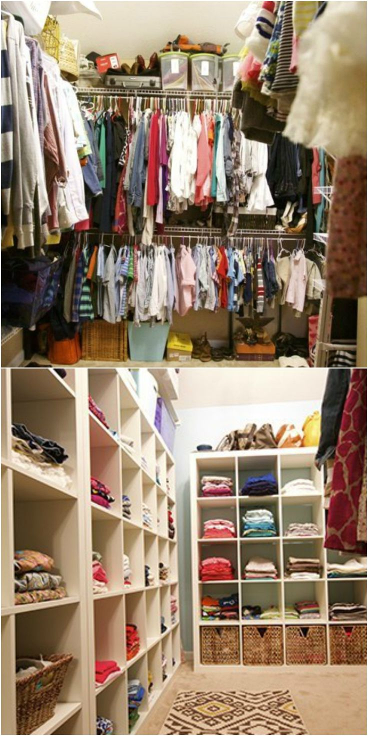New shelving units that take up nearly all of the wall space create dedicated areas for each family member in this closet makeover.