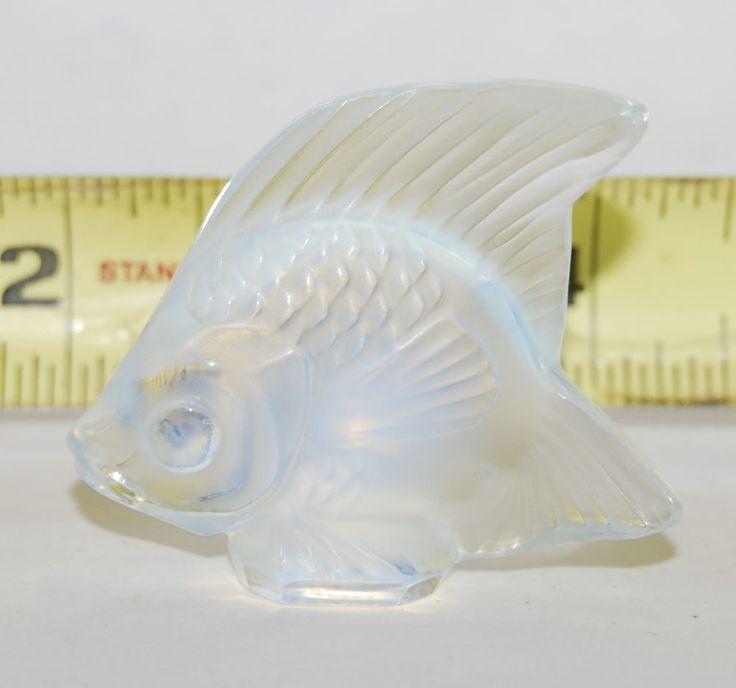 "Lalique Opalescent glass Angel Fish Sculpture Figurine Mini 2"" Signed France"