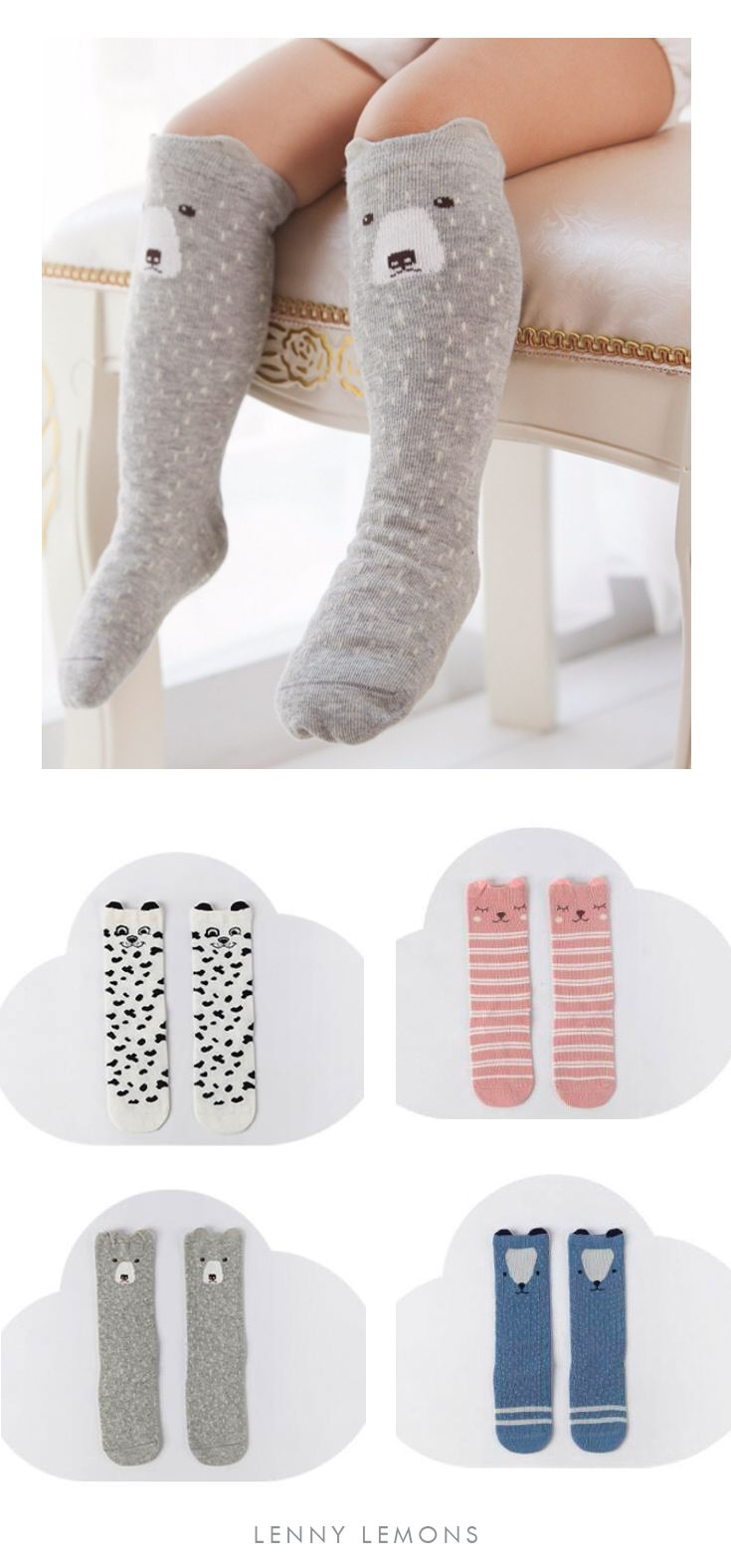 The new adorable trend in socks! Cotton blend. Unisex Cartoon Socks. Lenny Lemons, Babies and Toddler Apparel #lennylemons #babies #toddlers
