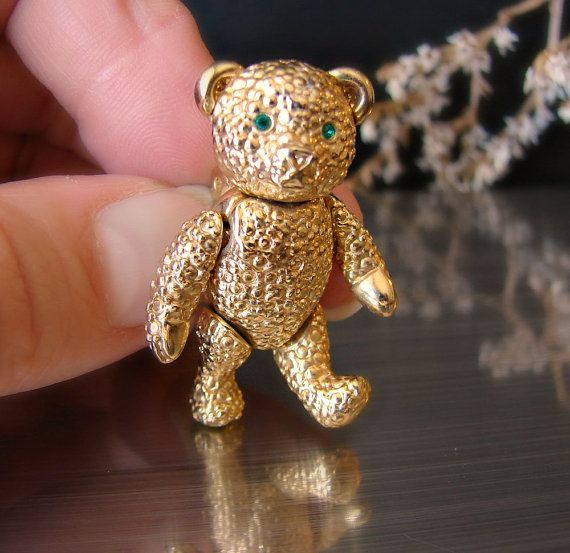#Napier jewelry. Gold #teddy #brooch. Jointed by OnceLostBoutique