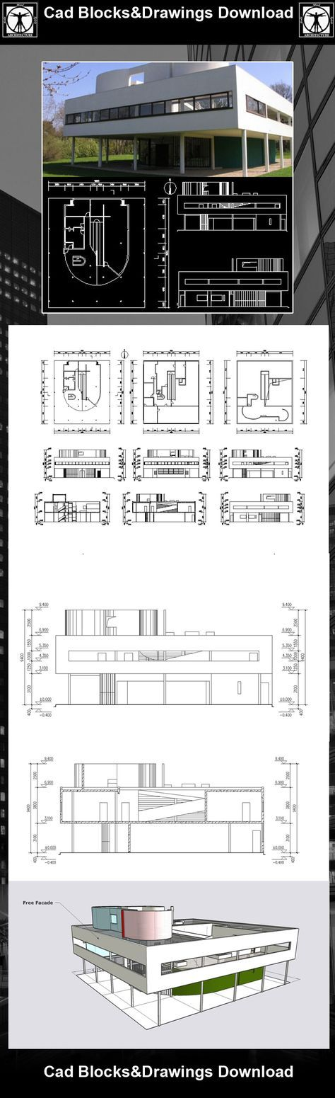 Villa Savoye-Le corbusier-Autocad Drawings download Download these Cad Drawings now!! (https://www.cadblocksdownload.com/products/villa-savoye-le-corbusier) Download CAD Drawings   AutoCAD Blocks   AutoCAD Symbols   CAD Drawings   Architecture Details│Landscape Details   See more about AutoCAD, Cad Drawing and Architecture Details  Description for this Autocad drawing : The Villa Savoye was designed by Le Corbusier as a paradigm of the -machine as a home-, so that the functions of everyday…