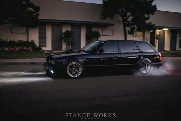 Bmw E34 5 Series Touring Black Slammed Stanceworks Bmw