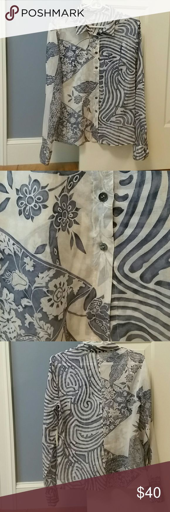 Rene Lezard long sleeve button up top Stunning Rene Lezard button-up sheer blouse Size 40 which equates to a size 8 100% cotton In excellent condition Rene Lezard  Tops Blouses
