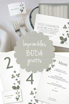 Imprimibles gratis personalizables para boda