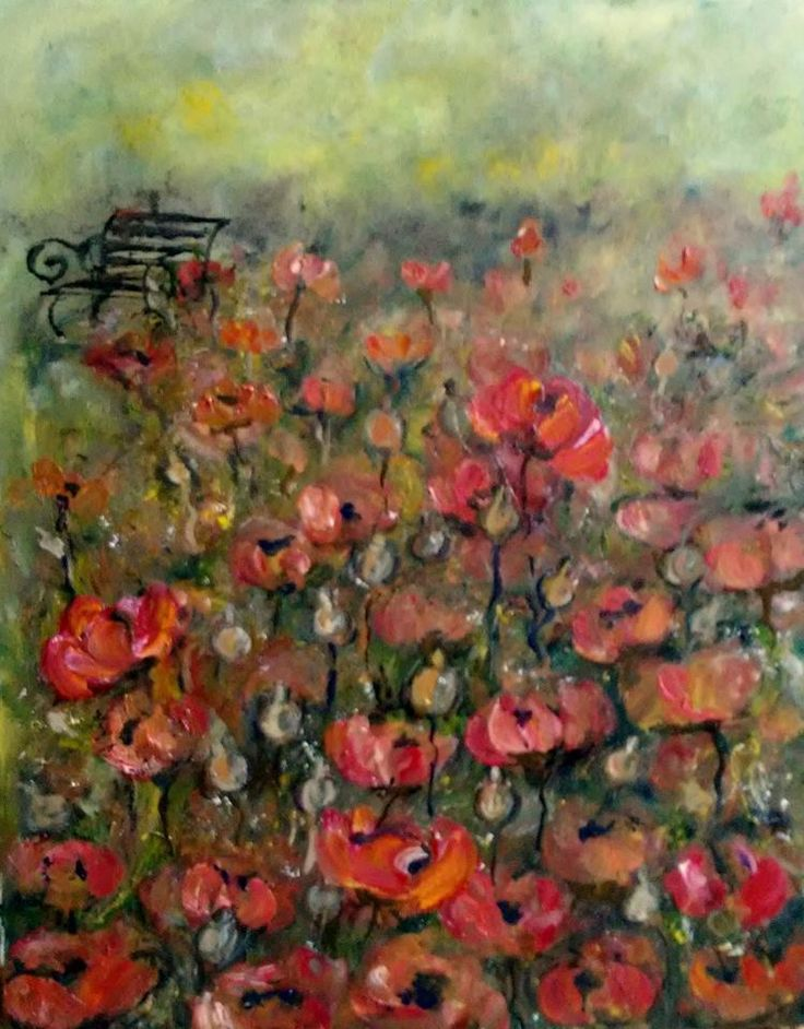 "modern paintings   poppies  Irina Rej size of the picture size 19,5""  15,5 "" #Expressionism"