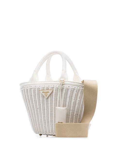 b13b4e7136f1 Prada White Middolino Straw Bucket Bag in 2019   My Style   Bags ...