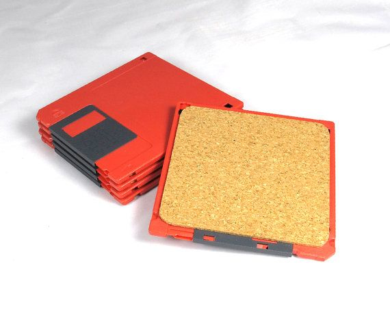 Red Floppy Disk Coaster by DillyDesignNYC