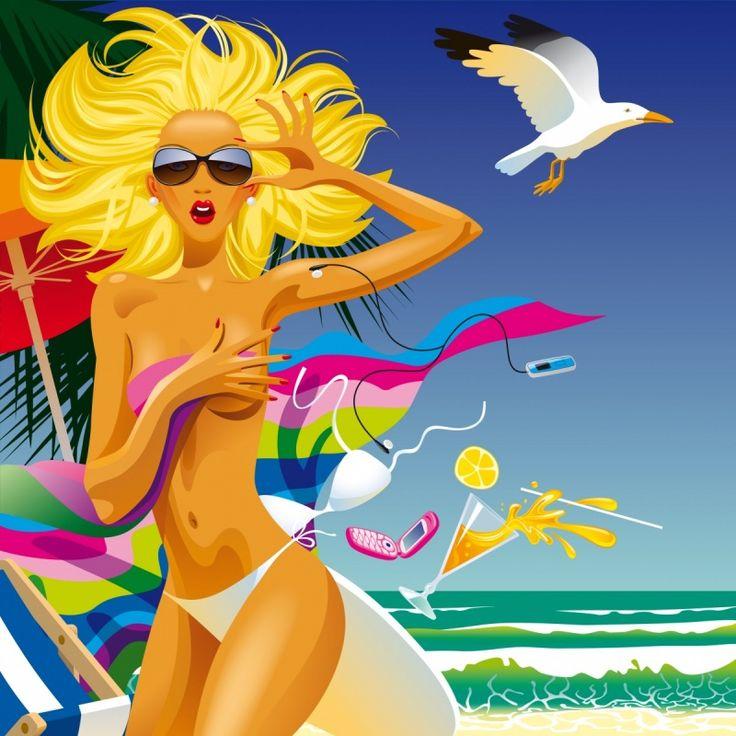 Stock image HD Beach girls Vector