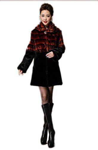 YR Lover Women Winter Warm Genuine Rex Rabbit Fur Coat