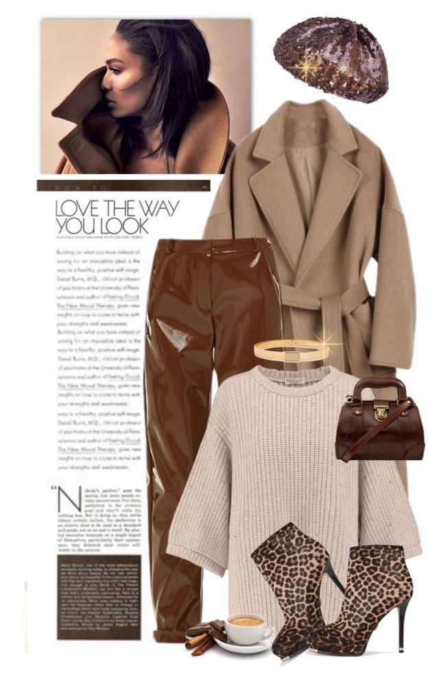"""""""CAFE AU LAIT"""" by shortyluv718 ❤ liked on Polyvore featuring Carven, Brunello Cucinelli, Michael Kors, Vita Fede, Sweater, booties, leatherpants, animalprints and woolcoat"""