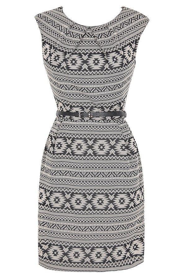 Aztec Print Belted Sheath Dress