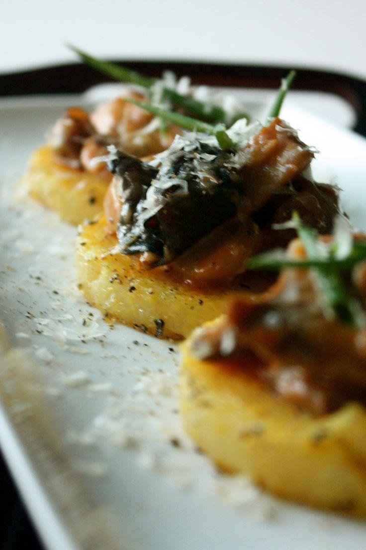 Winter Mushroom Ragu over Fried PolentaCakes | via Tram Le, MS, RD, LD