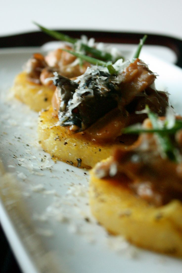 Winter Mushroom Ragu over Fried Polenta Cakes | via Tram Le, MS, RD, LD
