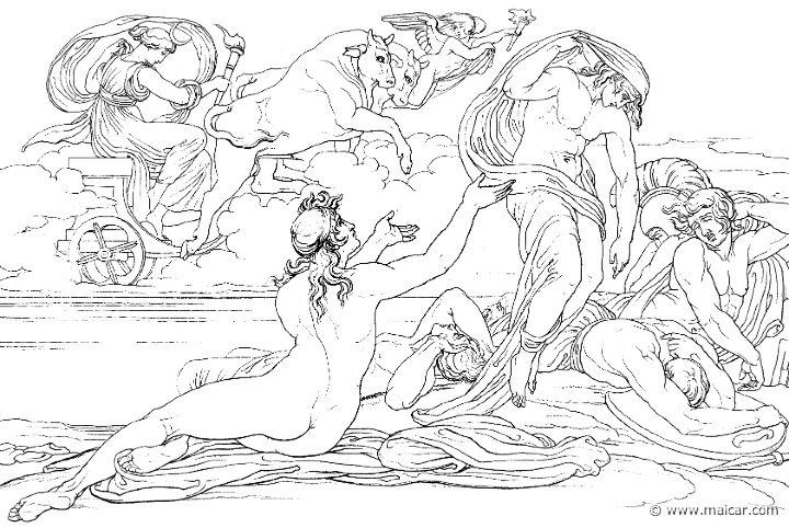 Achille e lo spirito di Patroclo (Hom.Il.23.100). Bonaventura Genelli (1798 – 1868)
