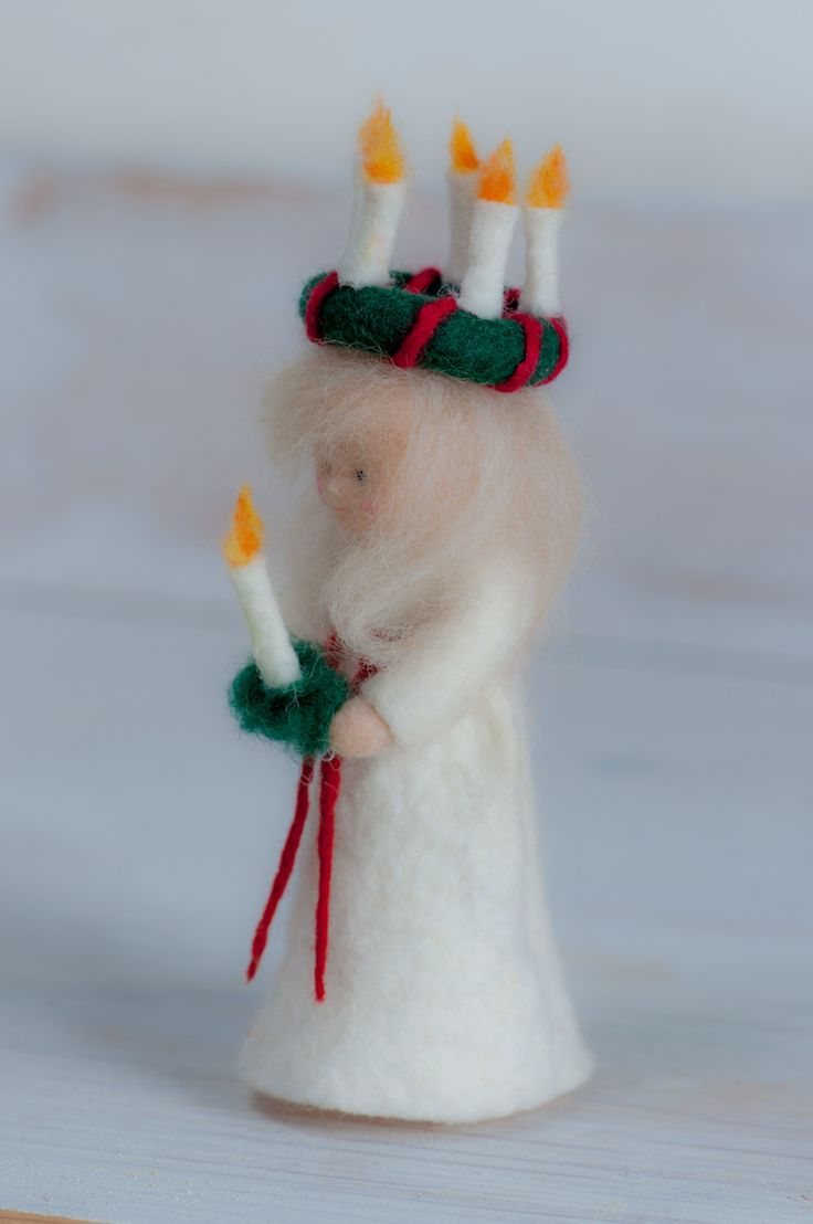 "Little felt figure "" St. Lucia"" for the winter christmas nature tabel >waldorf inspired< von lepetitagneau auf Etsy"