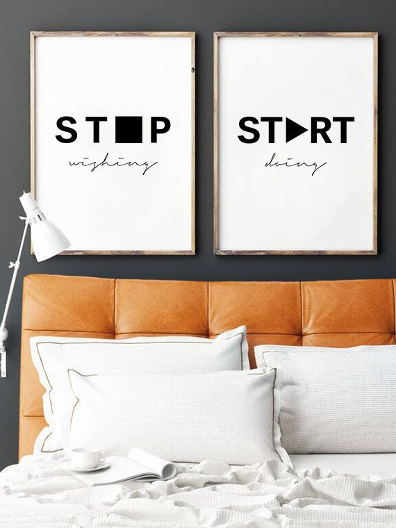 Motivational Poster, Printable Quotes, Stop Wishing, Start Doing, Wall Art Quotes, Inspirational Quote, Scandinavian Design