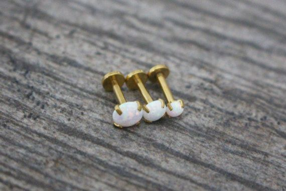 Gold Cartilage Earring Opal Tragus Stud by iluvpiercingsntats
