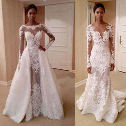 Discount African Lace Gold Color African Wedding Dresses With Detachable Train…