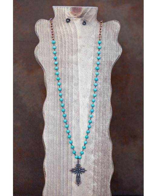 This long simple turquoise bead necklace will be your ...