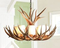 """MDST-L Real Antler Mule Deer Single Tier Chandelier  (27-29""""D x 17-18""""H), 8 light sockets, 3 feet of chain - $998 USD (shown with optional shades)"""