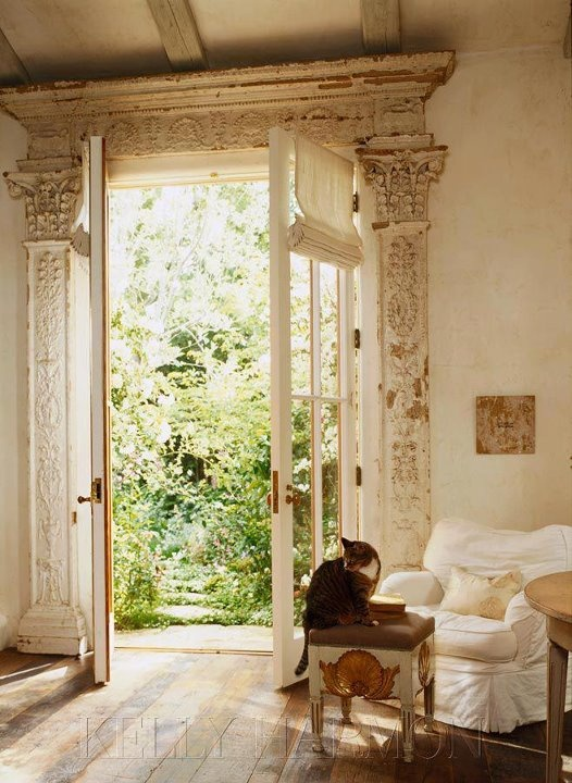 classical vintage distressed moldings and gorgeous french doors via kelly harmon