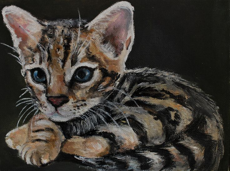 Miniature oilpainting little cat kitten bengalcat. Миниатюра картина маслом маленький кот, котенок, бенгальская кошка by teslimovka on Etsy