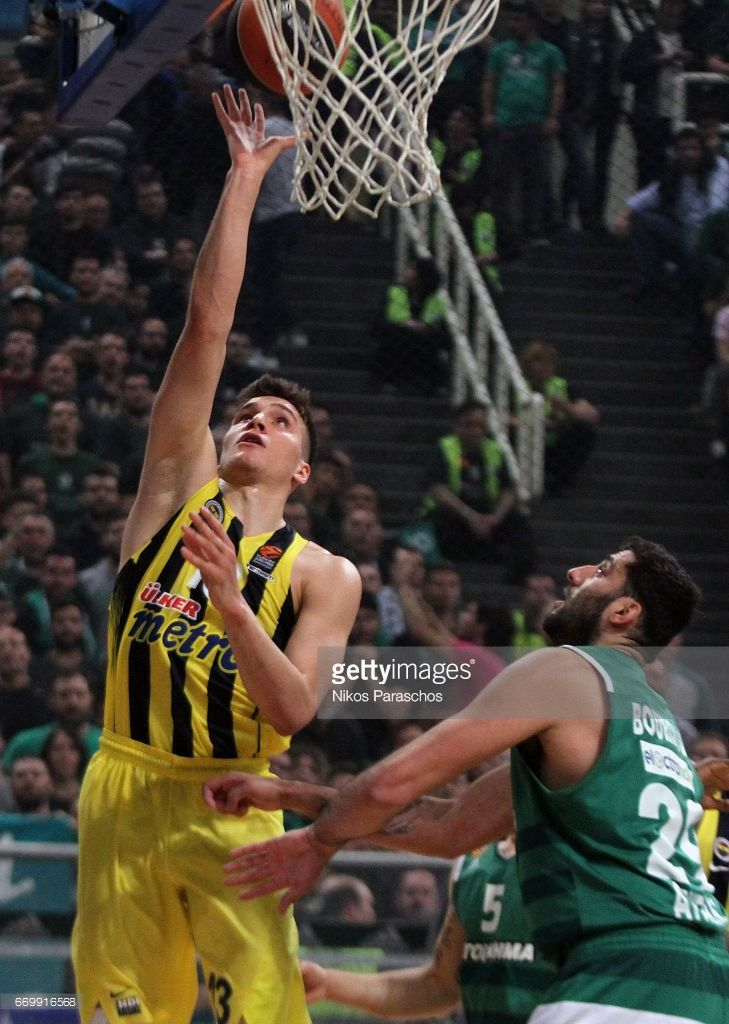 Bogdan Bogdanovic, #13 of Fenerbahce Istanbul in action during the 2016/2017 Turkish Airlines EuroLeague Playoffs leg 1 game between Panathinaikos Superffods Athens v Fenerbahce Istanbul at Olympic Sports Center Athens on April 18, 2017 inAthens, Greece.