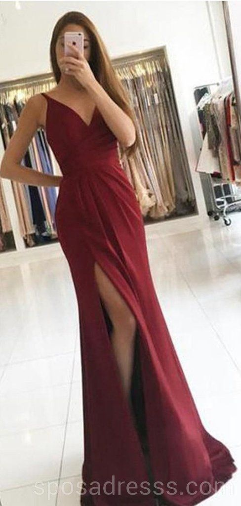 b9cb3dce3cd Simple Dark Red V-neck Side Slit Long Evening Prom Dresses