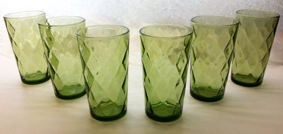 AVOCADO GREEN DIAMOND Pattern Vintage Set of 6 Olive Green Drinking Glasses Circa 1960's - 1970's Drinkware