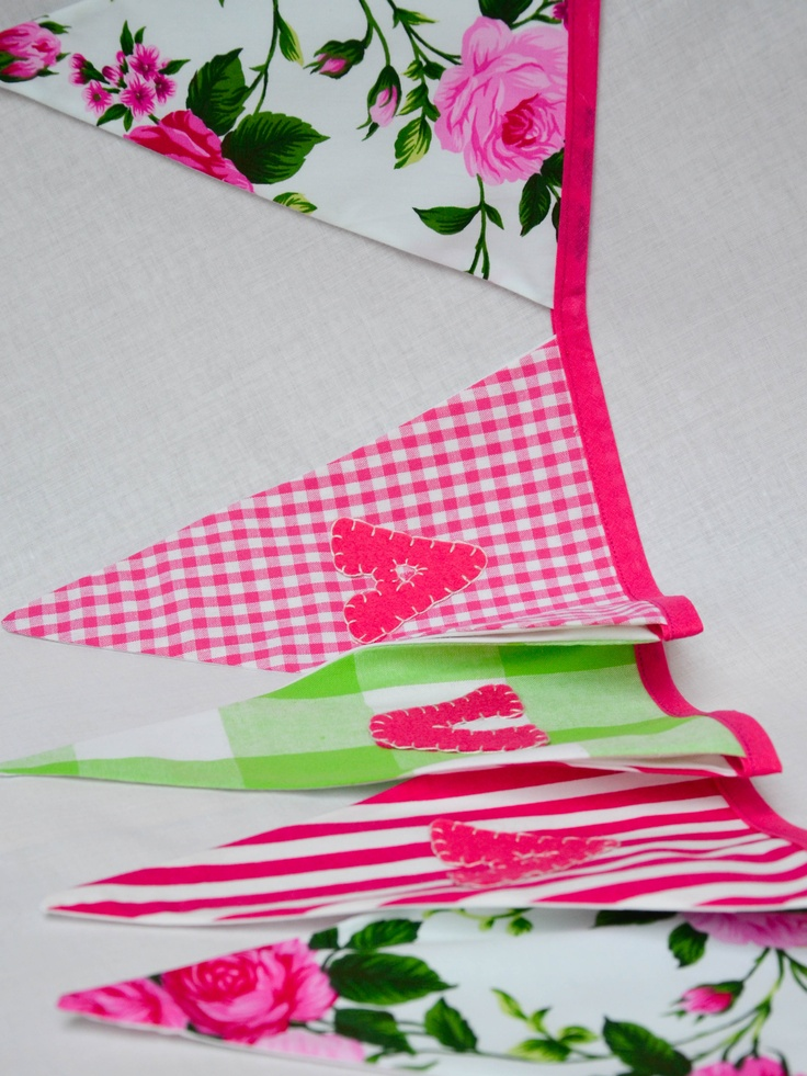 www.saffroncrafts.co.uk   Gorgeous Bespoke Personalised Bunting in Cerise Pink and Greent