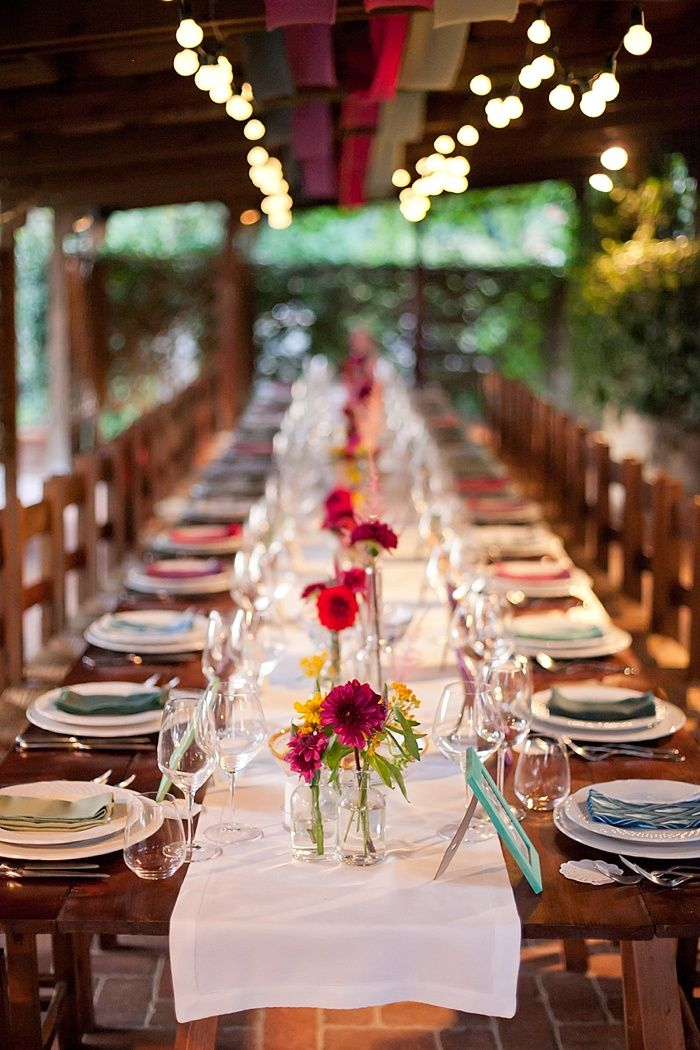 Wedding Table // Eclectic colorful wedding table in Umbria