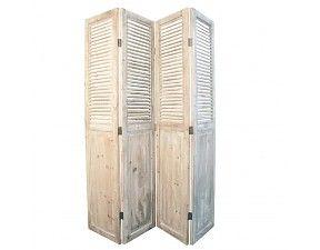 Landelijk Kamerscherm wit White-Wash houten Jaloezieen