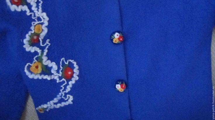 Жакет валяный Violette - синий, однотонный, жакет из войлока, жакет валяный, шерстяной жакет