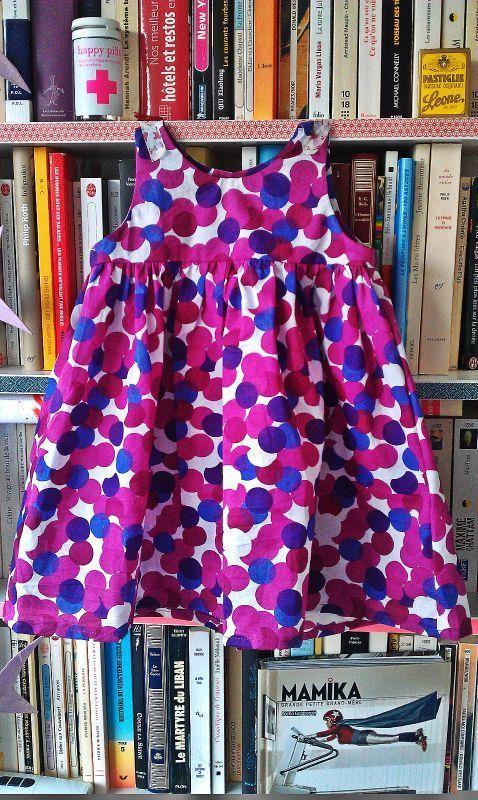 Robe froncée des Intemporels pour bébés, tissu AnnaKa Bazaar