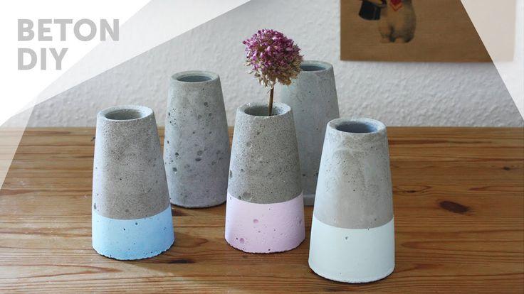 Kegelförmige Betonvase dipped, im Kupfer oder Kreide Look [UPCYCLING DIY]