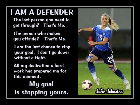 "Soccer Poster Julie Johnston World Cup Champion Photo Quote Fan Wall Art 5x7""- 11x14"" My Goal Is Stopping Yours I Am A Defender - Free Ship"