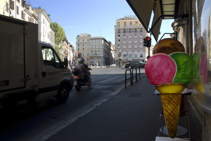Gelato. The Italians love it. This is a picture taken in Rome. Some people do believe that gelato is healthier than normal ice cream? Is it? I don't know.    But, the sign lights up a bright day..