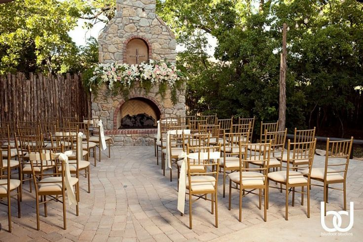 Aristide   Walters Wedding Estates   Mansfield   Wedding Venue   Outdoor Ceremony   Wedding Day   Outside   Fireplace   Flowers   Gold Chairs