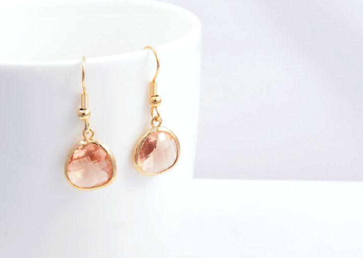 Light Peach Gold Earrings, Gold plated Earhook, Light Peach Color Glass and Gold Framed Earrings, Light Peach  Earrings -  for everyday use. $17.00, via Etsy.
