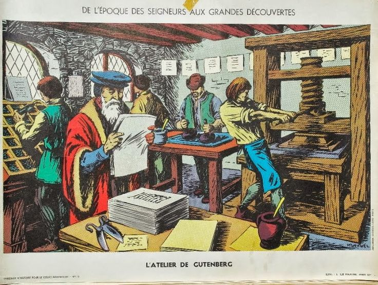"""Manuels anciens: Affiche histoire n°15 """"L'atelier de Gutenberg"""""""