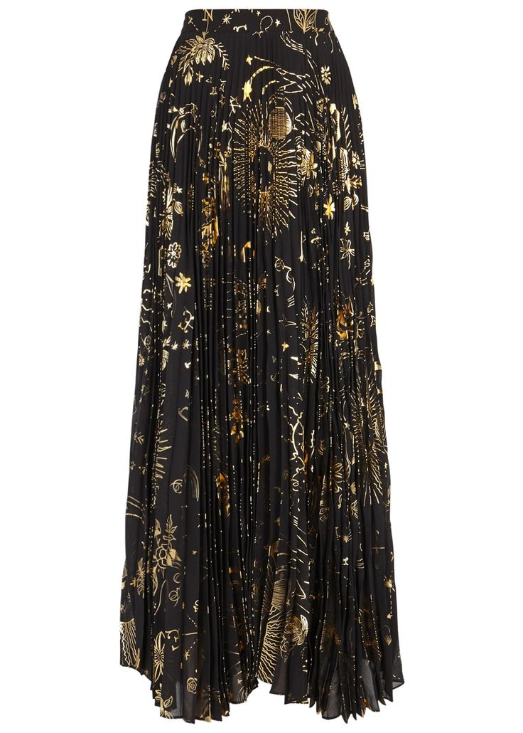 ALICE + OLIVIA  Shannon foil-print pleated maxi skirt