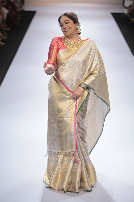 Actress Kirron Kher, 57, on the catwalk at Lakme Fashion Week.
