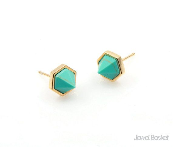 Turquoise Earrings will be perfect for your hand making accessories. This listing is for two pieces of Turquoise stone Earrings. They are made with gemstone and frame is made of brass. It is 16k gold plating.  - Shiny Gold Frame (Tarnish Resistant) - Turquoise Stone - Brass and Glass / 8.5mm x 6.2mm (not including post size) - 92.5 Silver Ear post - 2pcs / 1pack