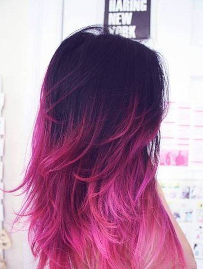 Purple Hair, Hair Colors, Dark Hair, Pink Hair, Dips Dyes, Ombre Hair