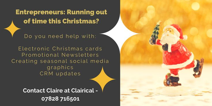 Businesses are you struggling to find the time to keep up this Christmas. Need help with electronic Christmas cards, newsletters or updating your CRM, get in touch