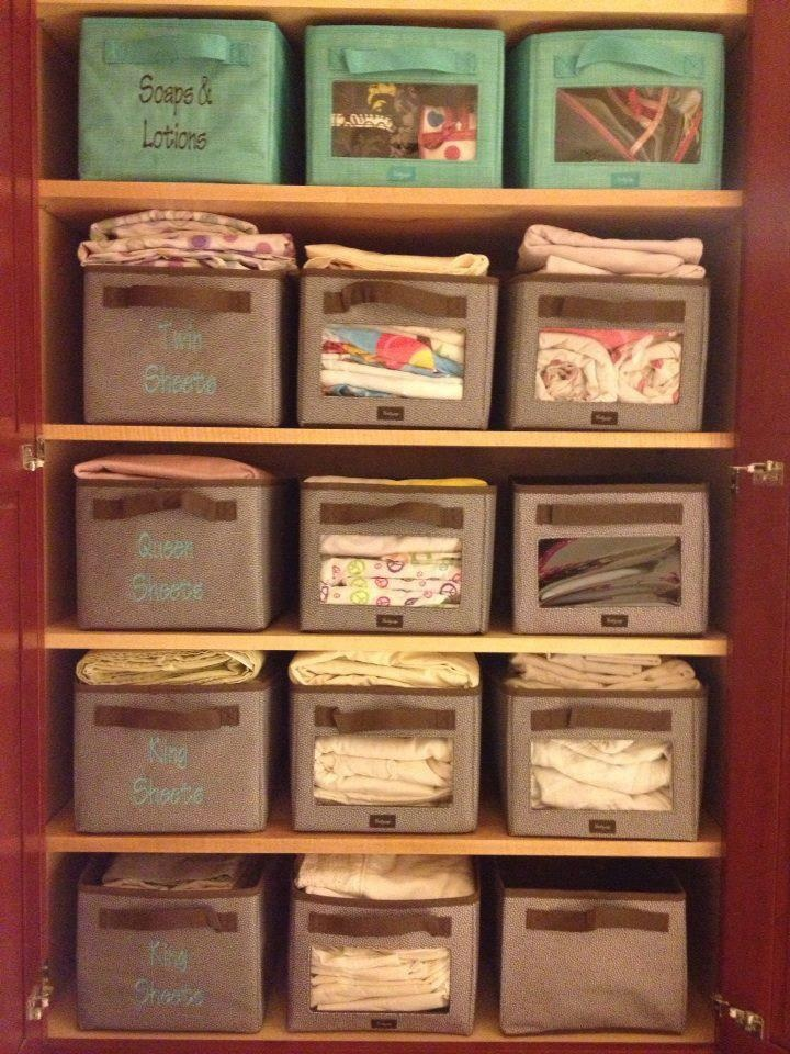Linen closet with your way cubes you can see the sheets for How do you organize your closet